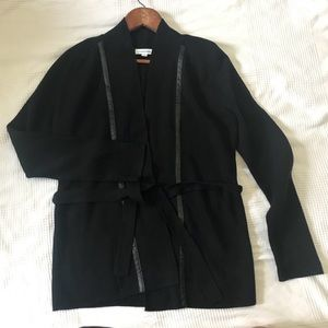 Calvin Klein Black Sweater Cardigan With Tie Small
